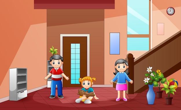 Ilustração dos pais com a filha em casa