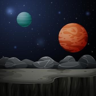 Ilustração dos planetas no espaço sideral