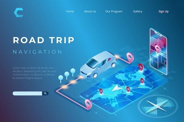 Ilustração dos recursos de navegação para auxiliar motoristas no mapeamento de locais no estilo 3d isométrico