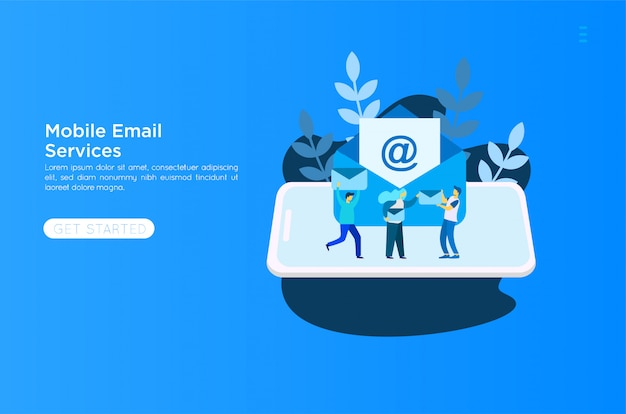 Ilustração dos serviços de e-mail