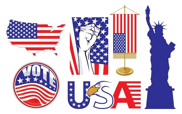 Ilustração dos símbolos dos estados unidos