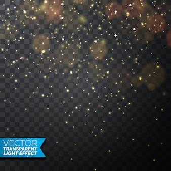 Ilustração dourada das luzes de natal em um fundo transparente escuro. desenho vetorial eps 10.