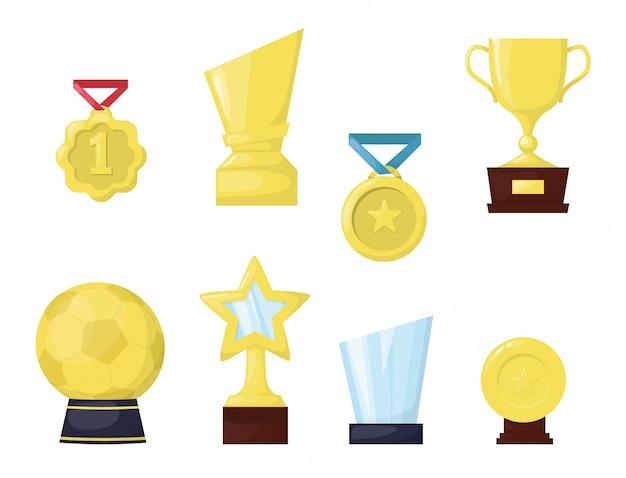 Ilustração dourada do prêmio do campeonato do lugar do copo do troféu primeira.