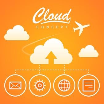 Ilustração, download de otimização de trabalho de conceito de nuvem, formato eps 10