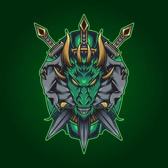 Ilustração dragão espada
