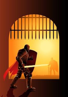 Ilustração dramática de um cavaleiro esperando no portão da frente para um duelo