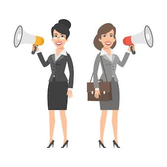 Ilustração, duas empresárias segurando alto-falantes e sorrindo, formato eps 10