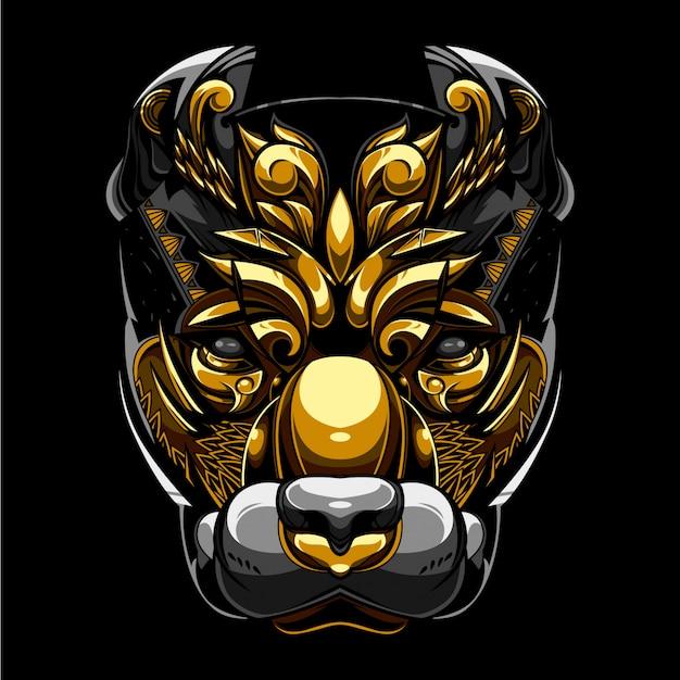Ilustração e camiseta da cabeça de cão do pitbull do ouro