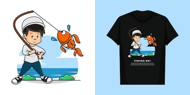 Ilustração e camiseta de cute boy is fishing