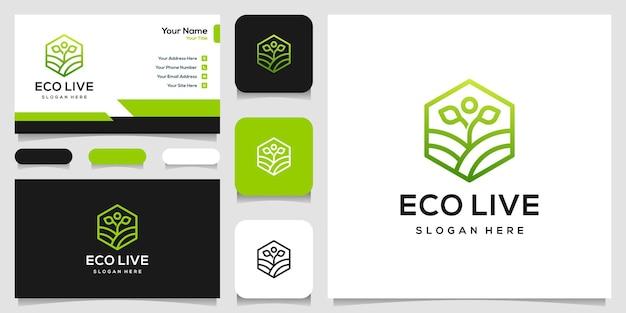 Ilustração e cartão de visita do ícone do logotipo do estilo de arte humana linha
