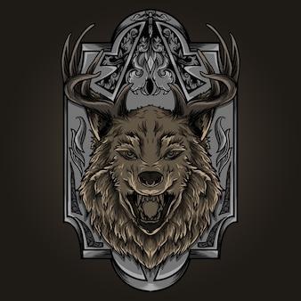 Ilustração e desenho de t-shirt chifre de veado lobo ornamento de gravura