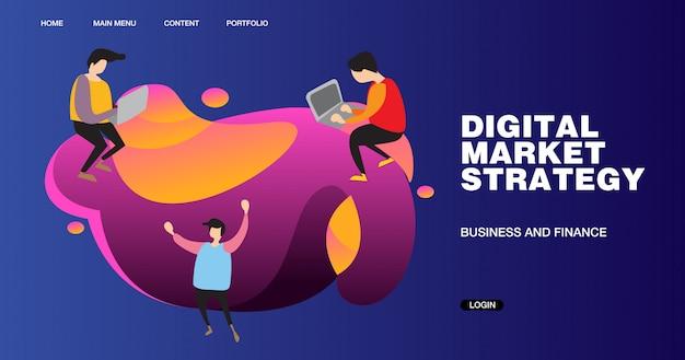 Ilustração e design de banner de estratégia de marketing digital