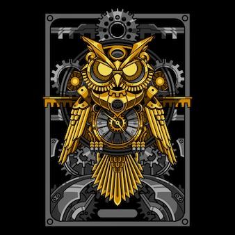 Ilustração e design de camiseta do steampunk da coruja dourada