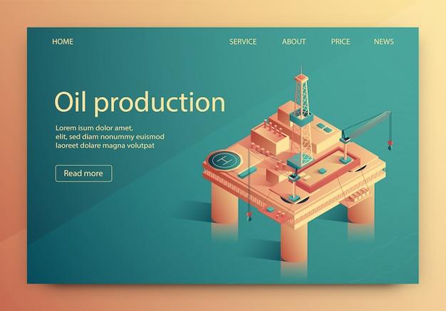 Ilustração é escrita isométrica de produção de petróleo.