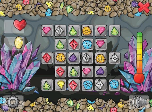 Ilustração e exemplos de telas, botões para jogos de computador e web design