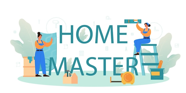 Ilustração e formulação tipográfica mestre em casa.