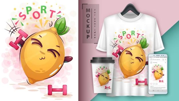 Ilustração e limão de barra de esporte e merchandising