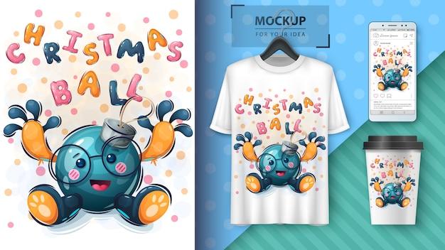 Ilustração e merchandising de brinquedos de árvore de natal