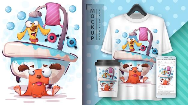 Ilustração e merchandising de cães de lavagem