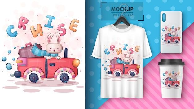 Ilustração e merchandising de coelho de cruzeiro