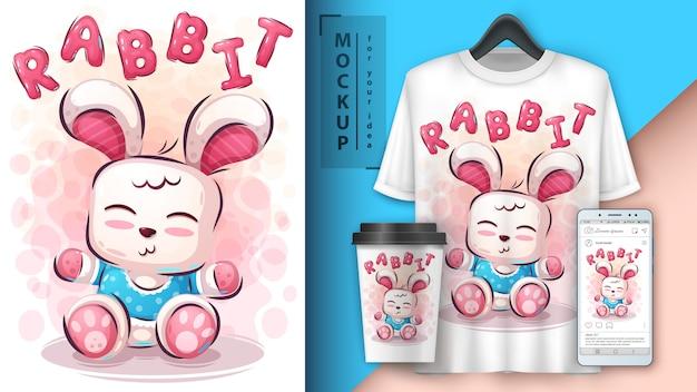 Ilustração e merchandising de coelho de pelúcia