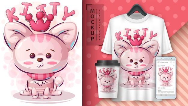Ilustração e merchandising de gatinho de princesa