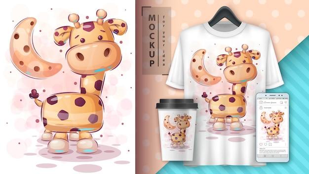 Ilustração e merchandising de girafas grandes Vetor Premium