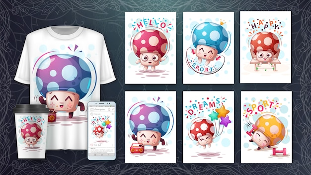Ilustração e merchandising de illustrtion dos desenhos animados