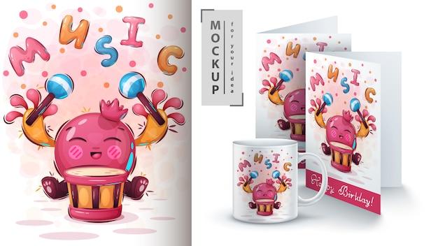 Ilustração e merchandising de música de frutas