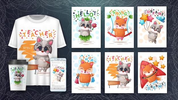 Ilustração e merchandising de raposa e guaxinim
