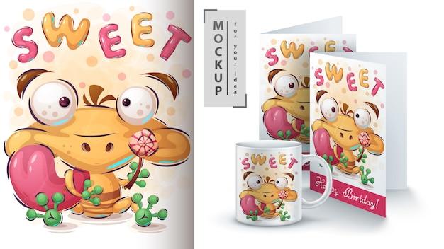 Ilustração e merchandising de sapo doce