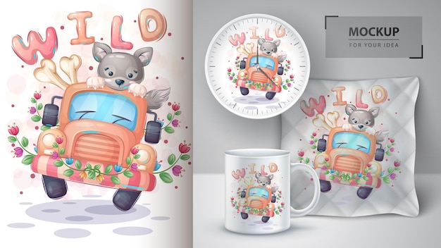 Ilustração e merchandising de viagem de lobo bonito