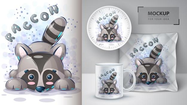 Ilustração e merchandising do guaxinim teddy