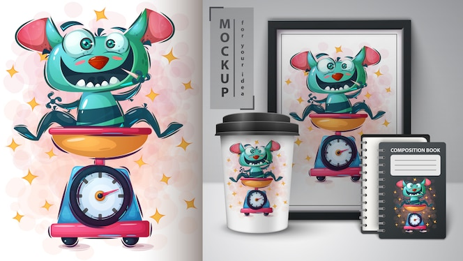 Ilustração e monstro de horror de merchandising