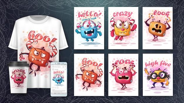 Ilustração e monstros fofos merchandising