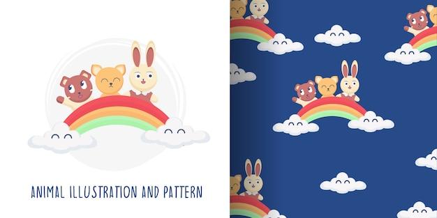 Ilustração e padrão animal fofo