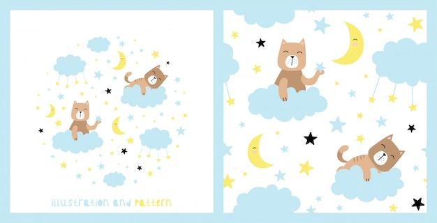 Ilustração e padrão com gato fofo