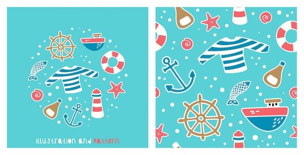 Ilustração e padrão com imagens sobre viagens marítimas