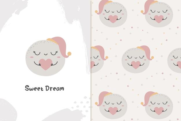 Ilustração e padrão de bons sonhos de lua fofa