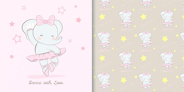 Ilustração e padrão de desenhos animados de bailarina elefante fofo