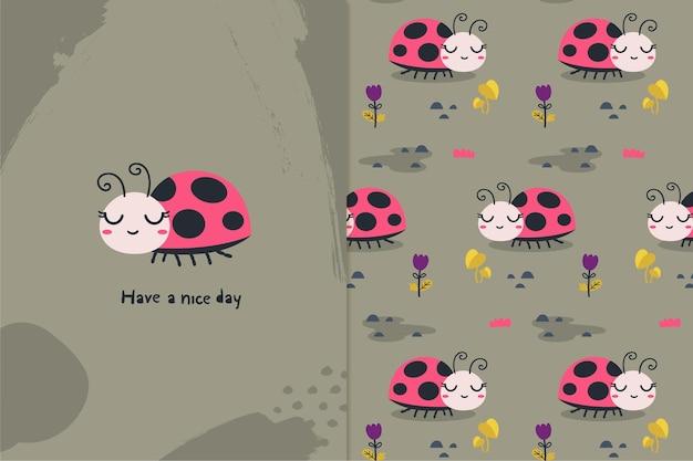 Ilustração e padrão de lady bug Vetor Premium