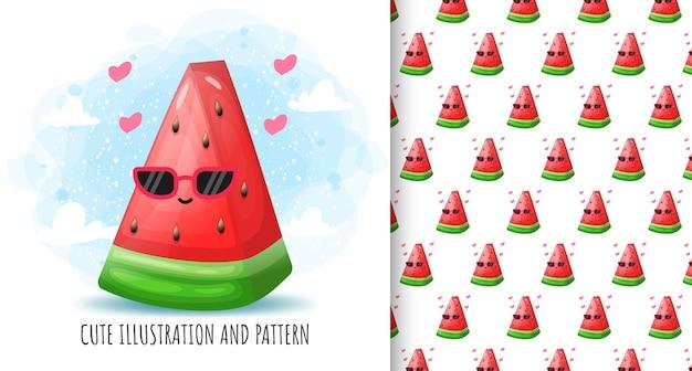 Ilustração e padrão de melancia fofa