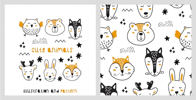 Ilustração e padrão sem emenda com animais fofos em estilo escandinavo.