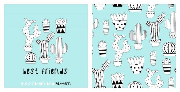 Ilustração e padrão sem emenda com cacto fofo
