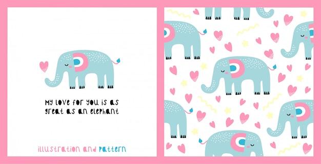 Ilustração e padrão sem emenda com elefante fofo