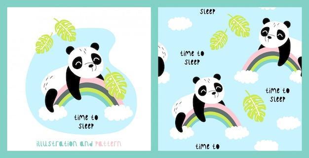 Ilustração e padrão sem emenda com panda bonito
