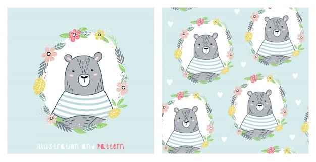 Ilustração e padrão sem emenda com urso fofo