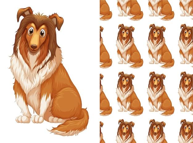 Ilustração e padrão sem emenda de cachorro