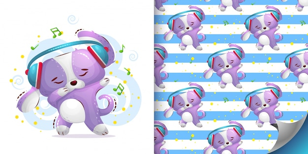 Ilustração e padrão sem emenda de danças de cães