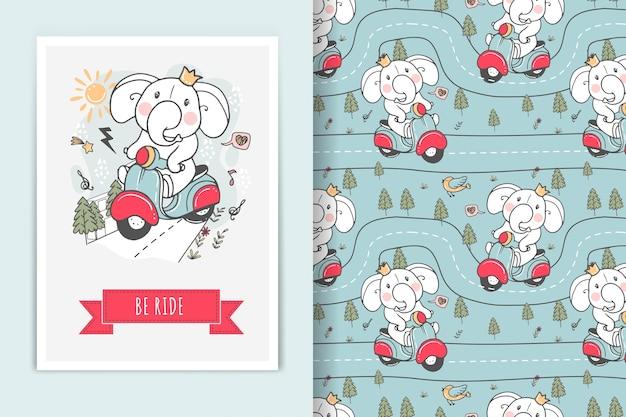 Ilustração e padrão sem emenda de elefante andando de bicicleta